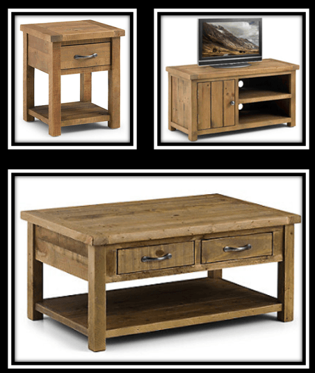 end tables, coffee table and tv unit